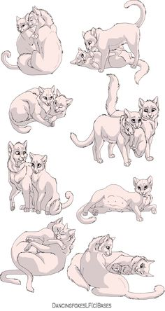 Cat couple linearts 8 pack by DancingfoxesLF