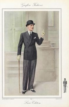 Menswear Plate 034 - Costume Institute Fashion Plates - Digital Collections from The Metropolitan Museum of Art Libraries 1930s Fashion, Men's Fashion, Fashion History, Retro Fashion, Vintage Fashion, Fashion Design, Dapper Gentleman, Gentleman Style, Morning Dress