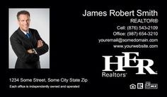 Her Realtors Business Cards - HR-BC-022 - With Photo, Compact,  Medium Size Photo, Black