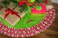 Ikat Ruffle Christmas Tree Skirt Monogrammed   The Preppy Pair