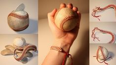 diy baseball bracelet I will have to remember this for Riley next time one of his baseballs is falling apart ;)