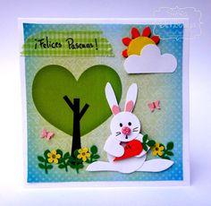 Silvia Scrap: Tarjeta: Conejito de Pascua en Punch Art