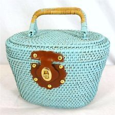 Vintage 60s 70s Woven Wicker Light Blue Wood Round Fishing Basket Box Purse
