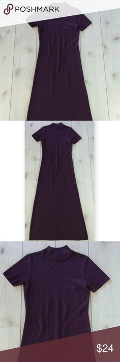 """Maxi Sweater Dress Short Sleeve Eggplant Color XS Stunning maxi sweater dress with short sleeves and mach turtleneck. Super soft. Chest 31"""" around at underarms. Waist 30"""" around. Length from shoulder 53"""". Dry clean only. Excellent condition. Very soft. Smoke free.  RT3 Freeport Studio Dresses Maxi"""
