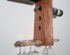 Wine rack Unique rustic cherry 10 bottle wine bat / wine rack with cork stemware rack