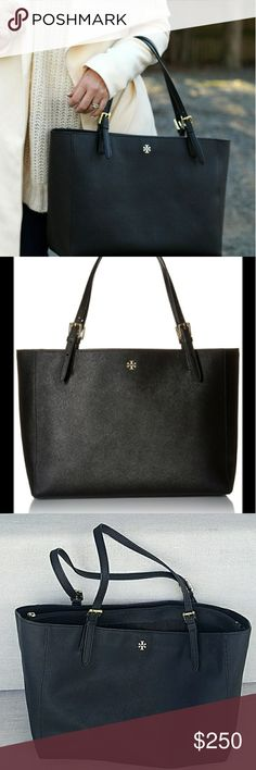"""Tory Burch York Tote Sold out almost everywhere! Black leather york buckle handbag from Tory Burch!  Great condition. Some wrinkling in the leather on the back.  Selling because I upgraded to Miu Miu (& now I'm selling that too!).  🎉 Great for work or school, traveling or just an everyday bag. 15""""W x 7""""D x 11""""H; 9.5"""" drop, Saffiano leather; 🍹Interior zip pocket, three interior slip pockets, interior cell phone pocket, interior laptop compartment 🌴 No trades no PayPal.  Offers welcome…"""