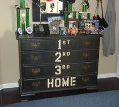 Ways to DIY a Baseball Dresser Maybe. needs some different drawer handles. And an elimination of the NY Giants crap on top. needs some different drawer handles. And an elimination of the NY Giants crap on top. Bedroom Themes, Kids Bedroom, Baseball Dresser, Baseball Furniture, Do It Yourself Home, Drawer Handles, My New Room, Baseball Themed Bedrooms, Softball Bedroom Ideas