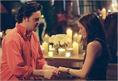 """""""Eu pensei que fosse importante como e onde dizer isto. Mas depois percebi que a única coisa importante é que com você,  sou mais feliz do que jamais pensei que seria. E se você deixar, vou passar o resto da minha vida tentando fazer você se sentir assim. Monica, quer se casar comigo?"""""""