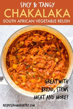 Chakalaka {South African Vegetable Relish – Vegan, Gluten Free} Chakalaka is a traditional South African recipe that is SO easy to make. It's a flavourful African dish ready in just about 30 mins. Curry Recipes, Veggie Recipes, Dinner Recipes, Healthy Recipes, Free Recipes, Potluck Recipes, Potato Recipes, South African Dishes, South African Recipes