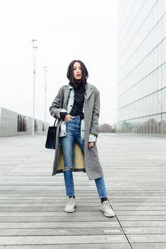 High waisted jeans are an absolute killer trend! Alexandra Guerain rocks a pair…