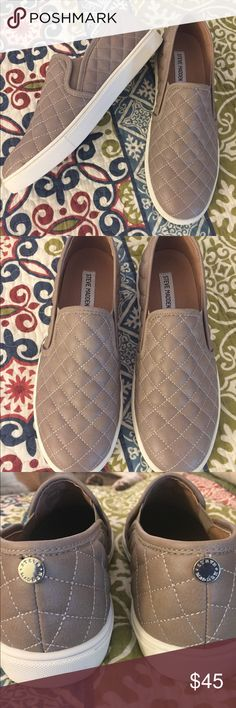 Steve Madden Slip On Sneakers Only worn once!! Taupe color. White soles. They run small. Fit more like a size 10 Steve Madden Shoes