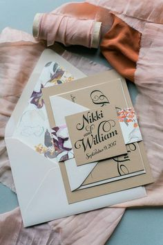 KATHRYN Suite Floral Package, blush floral with tan paper, the best script font for wedding invitations, watercolor floral envelope liners.