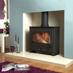 Feature colour chimney breast - with wood burner and light hearth Wood Burner Fireplace, Fireplace Wall, Fireplace Ideas, Contemporary Wood Burning Stoves, Chimney Decor, Contemporary Couches, Morrocan Decor, Chimney Breast, Log Burner