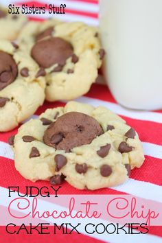 Fudgy Chocolate Chip Cake Mix Cookies on MyRecipeMagic.com #cookies #fudgy #chocolatechip
