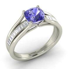 Neal Engagement Ring with Cushion cut Tanzanite, VS Diamond   1.09 carat Rectangle Tanzanite  Sidestone Engagement Ring in 14k White Gold   Diamondere