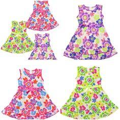 Girls summer sleeveless ribbon bow bold floral sun dress Sizes 2-3yrs 6yrs £5.49