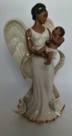 A beautiful, retired figurine of Malaika the guardian angel of love. It is crafted by the Lenox company of hand painted Porcelain and ivory fine china accented in 24 K gold. African American Figurines, African American Art, Guardian Angels, The Guardian, Angel Drawing, Black Angels, Bliss, Black Artists, Angel Aesthetic