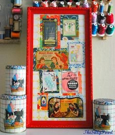 sewing notions display in a shadow box