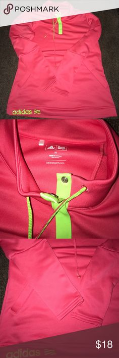 Adidas Golf Pullover Size Medium Excellent condition. Super cute style and color. Very comfortable. Not fitted. Ruffled look in arms. Lightweight and not lined with fleece. Bright pink and neon green. Lowest offer is the price listed. No trades or Mercari. No offers on bundles that are already discounted. Adidas Tops Sweatshirts & Hoodies