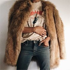 Rock n Roll with fur and graphic tee