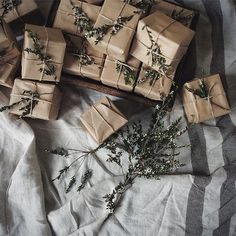 Christmas Gift Wrapping Ideas for a natural Country Christmas... Via Bread & Olives.