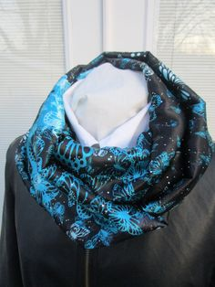 Turquoise butterfly satin infinity scarf by PrairieFlowerCreate