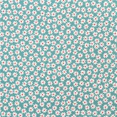 sea green and red daisy flower fabric (modeS4u)