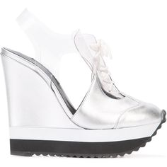 Ruthie Davis high-heeled sneakers (£460) ❤ liked on Polyvore featuring shoes, sneakers, grey, lace up high heel shoes, high heel shoes, leather lace up sneakers, platform wedge sneakers and metallic silver sneakers