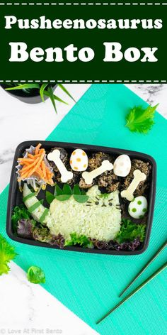Learn how to make a Pusheenosaurus bento box, based on Pusheen the Cat! A character bento box that's sure to please herbivores & carnivores alike. Best Bento Box, Bento Box Lunch For Kids, Cute Bento Boxes, Lunch Box, Bento Lunchbox, Box Lunches, Lunch Time, Bento Ideas, Lunch Ideas