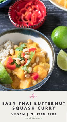 A delicious and fragrant Thai butternut squash curry made with yellow curry paste. Pumpkin can be used instead. Suitable for vegetarians and vegans. Autumn Recipes Vegetarian, Vegetarian Kids, Vegetarian Dinners, Veg Recipes, Curry Recipes, Easy Dinner Recipes, Asian Recipes, Vegan Meals, Asian Foods