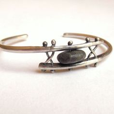 Bracelet - Cuff - Sterling Silver - Beach Stone - Rivet - Silversmith - RMD Designs