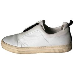 PIERRE HARDY \N WHITE LEATHER TRAINERS. #pierrehardy #shoes Pierre Hardy, Leather Trainers, White Leather, Slip On, Sneakers, Shopping, Shoes, Style, Fashion
