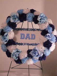 Dad Wreath // Gravesite Wreath // Cemetery Silk Flowers // Memorial Flowers // Silk Flower Wreath // Funeral Flowers on Etsy, $110.00