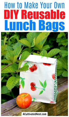 DIY Reusable Lunch Bags- Paper lunch bags aren't great for the environment or your budget. That's why you should make your own DIY reusable lunch bags with my easy tutorial! They're eco-friendly, frugal, and so easy to customize! | reduce paper waste, alternatives to paper lunch bags, how to sew a lunch bag, #DIY #ecoFriendly #frugalLiving #sewing #ACultivatedNest Diy Arts And Crafts, Diy Crafts To Sell, Diy Crafts For Kids, Sell Diy, Kids Diy, Decor Crafts, Craft Ideas, Amazon Sewing Machine, Easy Sewing Projects