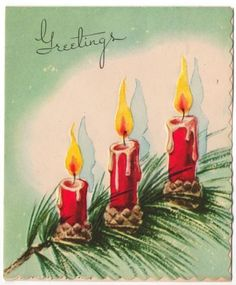 Vintage Greeting Card Christmas Art Deco Candles (CH202)