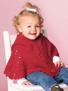 Perfect for an outing on a chilly day, this adorable hooded poncho is made using a worsted-weight yarn. Size: Child's 2–3.