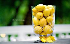 Lemons for a cheery, bright spring feel at a reception! Great for outdoors.
