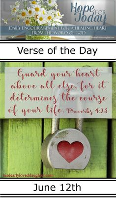 Hope For Today - Daily Encouragement for a Healing Heart from the Word of God - His Dearly Loved Daughter Ministries Prayer Verses, Scripture Verses, Scriptures, Christian Post, Christian Living, Gift Of Faith, Guard Your Heart, Daily Encouragement, Healing Heart