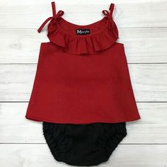 Linen baby bloomers and ruffle neck top Valentine's day edition. ❤️❤️❤️