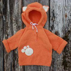 Baby fox hoodie Unisex animal baby hood Baby animal jacket Sweatshirt for child Knitwear with hood for little girl Baby knit hoodie