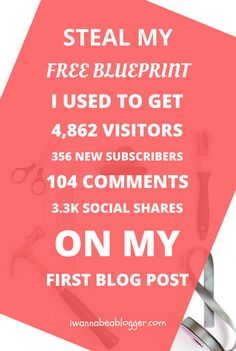 Wondering what kind of first blog posts you need to write to get the best results? Steal my 16,000-word blueprint I Used To GET 4,862 Visitors, 356 Email Subscribers, 3.3k Social Shares and 104 Comments on my first blog post (AND YOU CAN DO IT TOO!) Click on the pin to get your free first blog post blueprint!