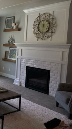 Refurbished Victorian Fireplaces White Subway Tile Fireplace with Craftsman Mant… – Fireplace tile ideas Tv Over Fireplace, Fireplace Update, White Fireplace, Wood Fireplace, Marble Fireplaces, Fireplace Remodel, Modern Fireplace, Fireplace Design, Craftsman Fireplace Mantels