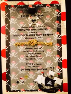 Pirate Themed Bachelorette Party Invitations! Just used 3 decorative sheets of paper from hobby lobby, printed them at home, then added stickers and bows! Made 12 for less than $15!