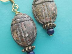SCARAB EARRINGS Leopard Jasper and Lapis Lazuli Ancient Egypt