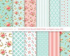 Shabby Chic Digital pack di carta in blu e rosa, sfondi digitali, carte Cottage, 12 file. jpg 12 x 12 - INSTANT DOWNLOAD Pack 427