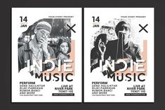 Indie Music Flyer (Graphic) by muhamadiqbalhidayat · Creative Fabrica Flyer Design Templates, Flyer Template, Stationery Templates, Business Brochure, Business Card Logo, Design Presentation, Presentation Templates, Music Flyer, Concert Flyer