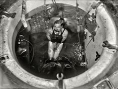 """Washington, D.C., 1931. """"Man partially submerged in tank with breathing apparatus."""" Last seen here on this guy, probably at the Navy Yard"""