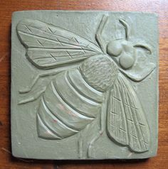 A Bird and a Bee honey bee tile handmade ceramic bee Ceramics project. Ceramic Tile Art, Clay Tiles, Ceramics Tile, Cement Tiles, Ceramic Bowls, Mosaic Tiles, Clay Wall Art, Clay Art, Slab Pottery