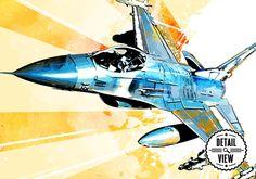 F-16 Art Print Military Airplane Art Print by MediaGraffitiStudio