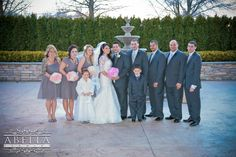 The wedding party pose with the bride and groom outside the Crystal Ballroom in front of the picturesque scenery. www.CrystalBallroomNJ.com Photo courtesy of Abella Studios. #wedding #njwedding #centralnj #bride #groom #freehold #crystalballroom #banquet #banquetfacility #njbanquet #reception #njweddingvenue #weddingvenue
